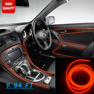 12v Car Interior Neon Lamp Strip Red 9 8ft Cold Light Lamp Atmosphere For Toyota