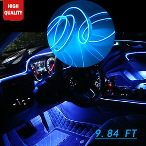 9 8ft Car Neon Lamp Strip El Wire Decor Atmosphere Blue Cold Light For Nissan