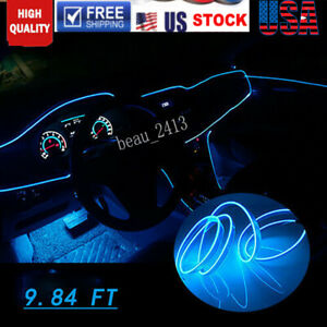 Car Interior Neon Lamp Strip Blue 9 8ft Cold Light Lamp Atmosphere For Toyota
