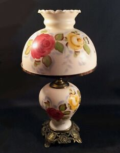 Vintage Glass Lamp Victorian Hand Painted Shade And Base Light Up Base