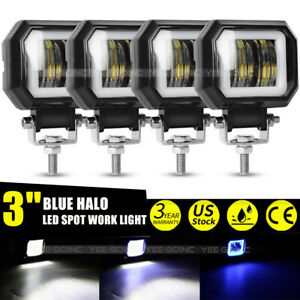 4pcs Universal 3 Square Projector Blue Led Drl Halo Angel Eyes Fog Spot Lights