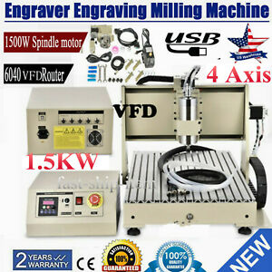 Usb 4 axis Cnc 6040 Router Engraver 4 Rotating Axis Metal Wood Cut Machine 1 5kw