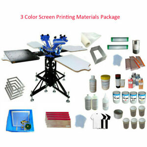 Screen Printing Machine Kit 3 Color 4 Station Rotary Printer With Flash Dryer