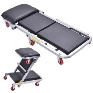 2 In 1 Foldable Mechanics Creeper Seat Rolling Chair Garage Work Stool 40in