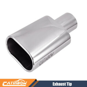 Rolled Oval Slant Stainless Steel Exhaust Tip 2 5 Inlet 5 5 Outlet 9 Long