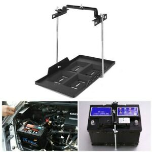 Adjustable Car Storage Battery Tray Holder Base Hold Down Clamp Bracket Kit