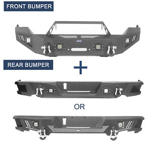 Hooke Road Front Bar W Winch Plate Or Step Rear Bumper Fit 13 18 Dodge Ram 1500