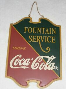 COCA COLA Fountain Service SIGN VTG WOOD DOUBLE SIDED HANGER
