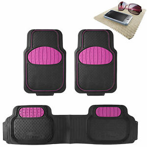 Pink Black Heavy Duty Floor Mats From Fh Group For Auto Car W Free Dash Mat