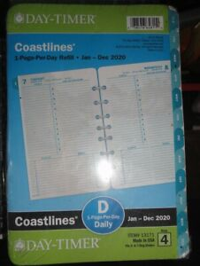 Day timer 2020 Coastlines 1 page per day Planner Refill 8 25 X 5 5 Sz 4