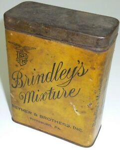 Brindley's Mixture Pipe Tobacco Pocket Tin w/ Paper Label Advertising RARE