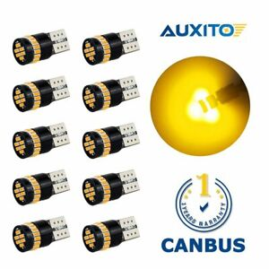 10x Amber Yellow 168 194 2825 Map Dome License Side Marker Led Canbus Light Bulb