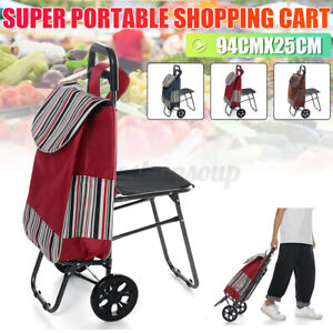 Portable Folding Shopping Trolley Cart Dolly With Stool Rolling Grocery Holder