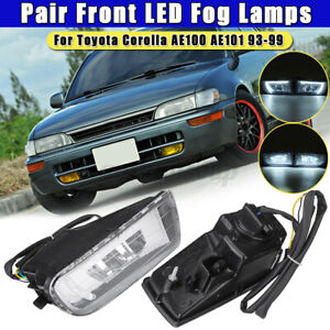 Pair Front Led Fog Light Lamp Clear For Toyota Corolla Ae100 Ae101 1993 1999 Usa