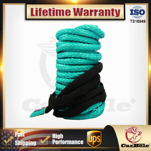 Synthetic Winch Line Cable Rope W Sheath Green For Atv Utv 1 4 X 50 10000lbs
