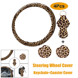 4 Pack Leopard Print Car Steering Wheel Cover Protect Keychain Coaster Cover