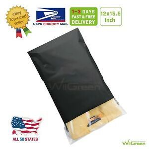 5 12 X 15 5 Inch 2 17 Mil Poly Mailers Shipping Envelopes Packaging Bags Black