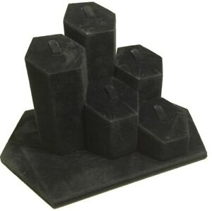 Black Velvet Wrapped Hexagon Ring Tabletop Jewelry Wedding Ring Display Stand
