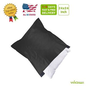 1 150 24x24 Black Poly Mailers Large Envelopes Plastic Shipping Bags 2 17 Mil
