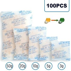 100packs Rechargeable Silica Gel Packets Desiccant Dehumidifier Color Indicating