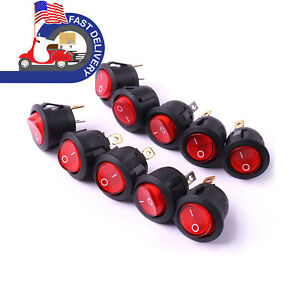 10x Ac 12 V 6a Round On Off Rocker Toggle Switch Button Triangle Pole Red