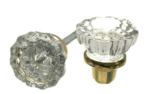 2 Pairs Vintage Style 12 Point Glass Door Knobs