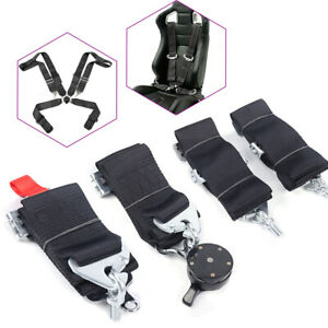 4 Point Camlock Quick Release Racing Seat Belt Harness Black