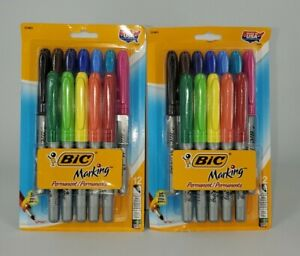 Lot 2 Packs Bic Rainbow Mark it Permanent Markers Fine Point 12 Count Soft Grip