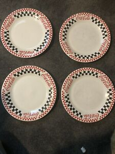 Coca-Cola Gibson's 1997 Checkered Dinner Plate Dinnerware Set of 4