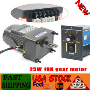 25w Ac110v Ac Gear Motor Electric Motor Variable Speed Controller 1 10 0 135rpm