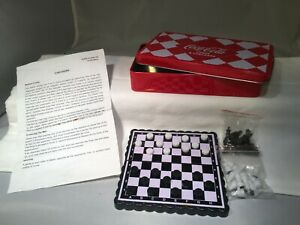 Coca Cola Miniature Magnetic Chess & Checkers Set Red White Collector Travel Tin
