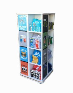 T shirt Floor Stand Gifware Display Shelves Retail Store Merchandiser Roll Spin