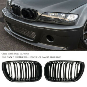 For Bmw 3 Series E46 4 Door 2002 2006 Facelift Front Twin Bar Grille Gloss Black