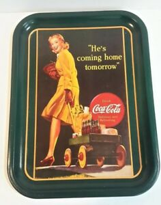 Coca-Cola Vintage Tray He's Coming Home Tomorrow 1991 Art Print Great Shape