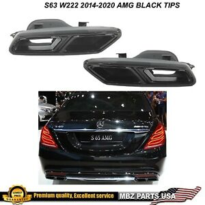 S63 W222 Black Muffler Tips Square Exhaust Amg 2014 2015 2016 2017 2018 2019