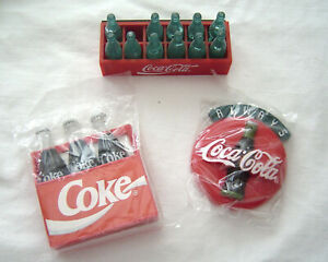 Coca-Cola Magnets Lot of 3 NOS 1990's Cases and Bottles and Coke Button