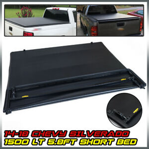 For 14 2018 Chevy Silverado 1500 Lt Soft Four fold Tonneau Cover 5 8ft Short Bed
