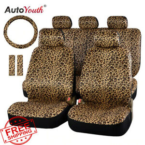 Luxury Leopard Print Car Seat Cover Full Set Universal Fit Seat Belt Pads New