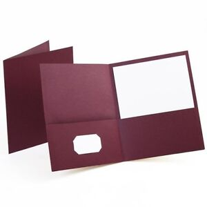 Oxford Twin pocket Folders Textured Paper Letter Size Burgundy 25 Pack