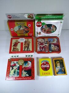 Vintage Lot Of Coca Cola Playing Cards Tins Packs Collectible Christmas