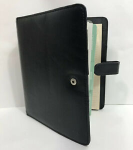Day timer Black 7 Ring Snap Close Planner Organizer With Some Contents