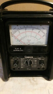 Simpson 260 Series 6 Volt Ohm Multimeter No Leads Or Clips Roll Top Case Usa