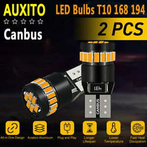 Auxito 3000k Amber Led Front Side Marker Light Bulbs 168 194 2825 T10 Bright Smd
