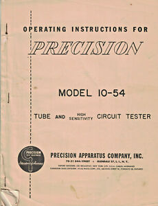 Operating Instructions For Precision Model 10 54 Tube Tester Precision Apparatus