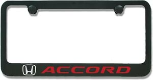 Honda Accord Black Red Metal License Plate Frame Holder newest Style