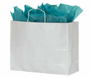 Large White Kraft Paper Shopping Bags With Handles Case Of 100