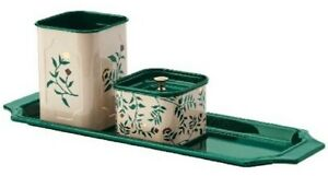 Ikea Anilinare 4 piece Desk Organizer Set Beige Green Floral Patterned Metal