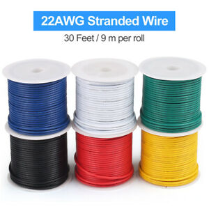 30ft roll Electrical Wire 22 Gauge Stranded Core 22awg Copper Cable Tinned 6roll
