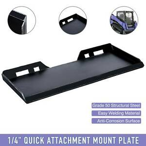 1 4 Steel Quick Tach Attachment Mount Plate For Kubota Bobcat Skidsteer Loader