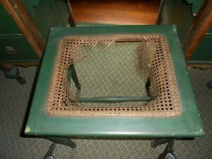 Antique Vanity Stool 18 L X 18 H X 15 W Sturdy Turned Legs Caning Missing